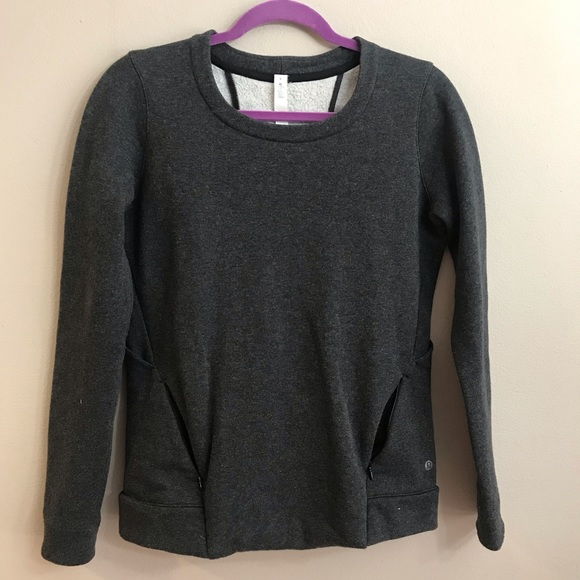 Lululemon Sweater Pullover Pockets Gray Sz 4